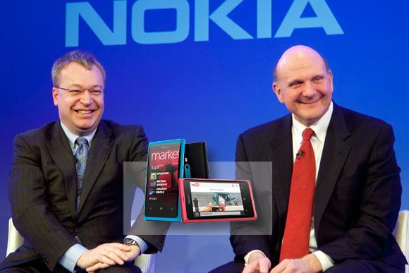 Stephen Elop i Steve Ballmer podczas ogłoszenia strategicznej współpracy Nokii i Microsoftu.