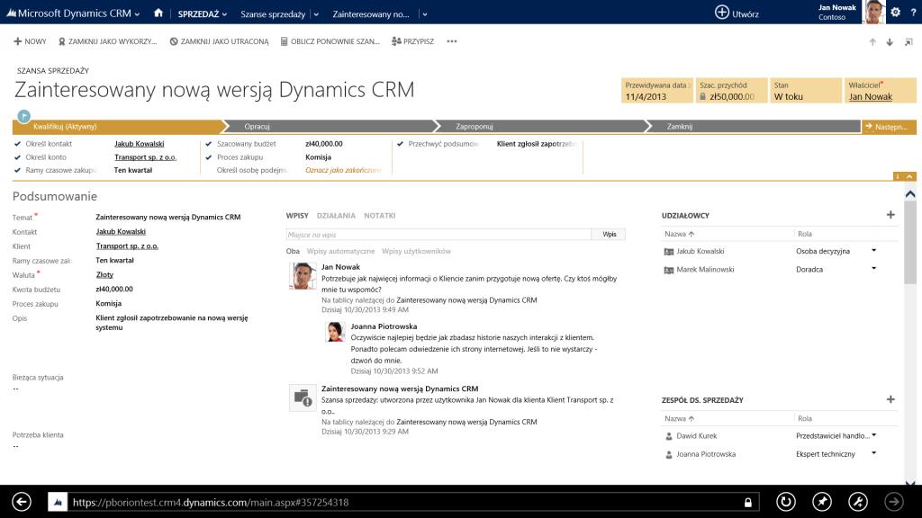 Przykładowy ekran polskiej wersji systemu Microsoft Dynamics CRM 2013. Źródło: Microsoft