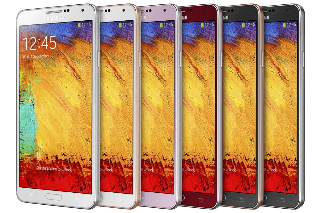 Samsung Galaxy Note 3 w różnych wersjach kolorystycznych Źródło: Samsung
