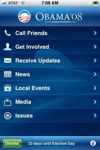 Ekran startowy oficjalnej aplikacji mobilnej przygotowanej przez sztab Baracka Obamy w 2008 roku. Źródło: CNet