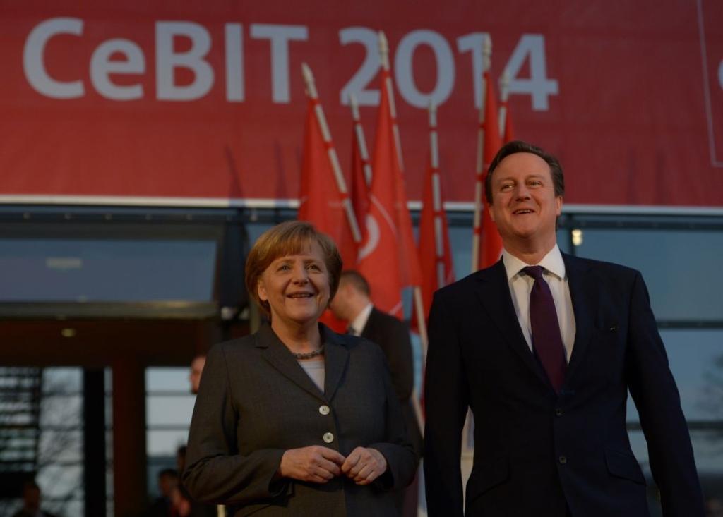 Angela Merkel, kanclerz Niemiec i David Cameron, premier Wielkiej Brytanii pierwszego dnia targów