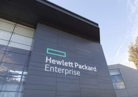 Hewlett Packard Enterprise installs new signage on the exterior of its Palo Alto, CA headquarters. CREDIT: Hewlett Packard Enterprise