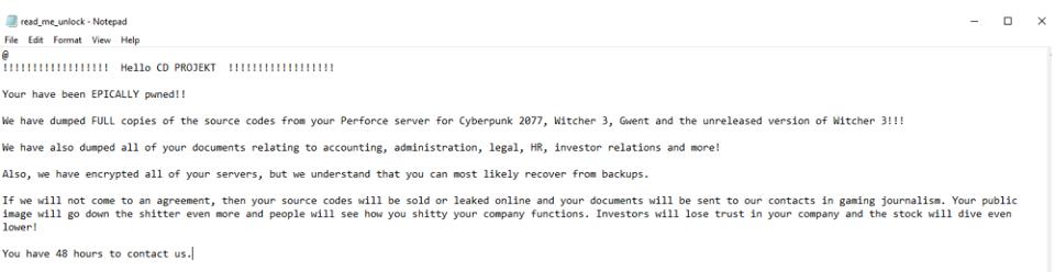 CD Projekt ofiarą ataku ransomware