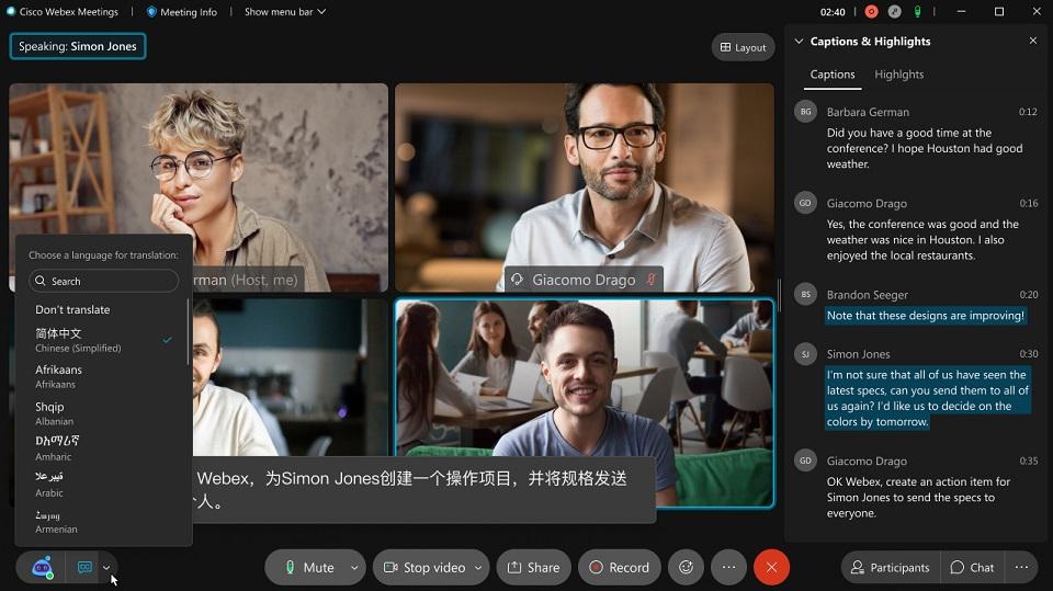 Cisco Webex wprowadza funkcję tłumaczenia w czasie rzeczywistym